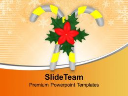 Yellow Candy Cane With Flowers Celebration Christmas PowerPoint Templates PPT Themes And Graphics