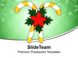 Yellow Candy Cane With Red Flower Powerpoint Templates Ppt Themes And Graphics 0113