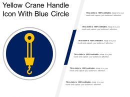 Yellow Crane Handle Icon With Blue Circle