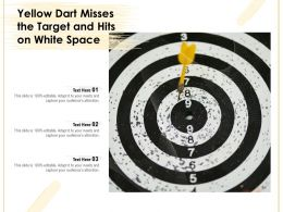 Yellow Dart Misses The Target And Hits On White Space