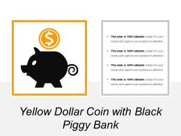 Yellow Dollar Coin With Black Piggy Bank