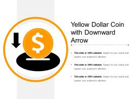 Yellow Dollar Coin With Downward Arrow