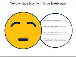 Yellow Face Icon With Blue Eyebrows