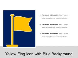 Yellow Flag Icon With Blue Background