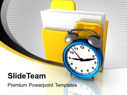 Yellow Folder And Clock Uploading Marketing Powerpoint Templates Ppt Themes And Graphics 0113