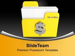Yellow Folder With Dollar Sign Metaphor Powerpoint Templates Ppt Backgrounds For Slides 0113