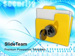 yellow folder with locked with key powerpoint templates ppt themes and graphics 0213