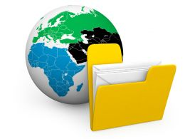 Yellow Folder With White Envelopes To Show Global Data Stock Photo