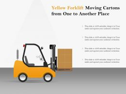Yellow Forklift Moving Cartons From One To Another Place