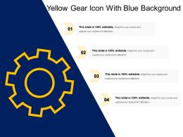 Yellow Gear Icon With Blue Background