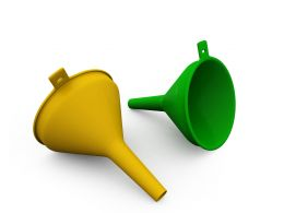 Yellow Green Plastic Funnel On White Background Stock Photo