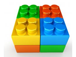 Yellow Green Red Blue Lego Blocks In Square Shape Stock Photo
