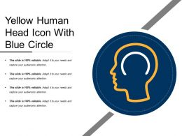 Yellow Human Head Icon With Blue Circle