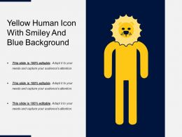 Yellow Human Icon With Smiley And Blue Background