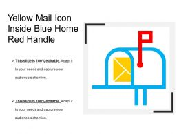 Yellow Mail Icon Inside Blue Home Red Handle