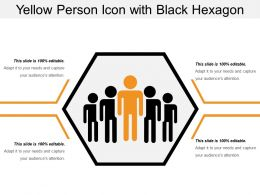 Yellow Person Icon With Black Hexagon