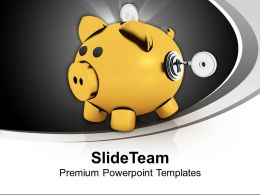 Yellow Piggy Bank With Key Closed Savings Powerpoint Templates Ppt Themes And Graphics 0213