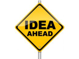 Yellow Post For Idea Ahead Concept Stock Photo