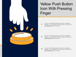 Yellow Push Button Icon With Pressing Finger