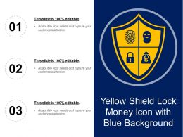 Yellow Shield Lock Money Icon With Blue Background