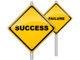 Yellow Signposts With Success And Failure Concept Stock Photo