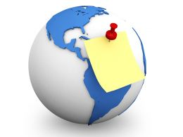 Yellow Sticky Note With Red Pin Fixed On Globe Stock Photo