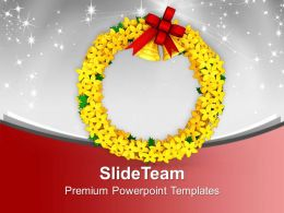 Yellow Wreath With Golden Bells Decoration Christmas PowerPoint Templates PPT Themes And Graphics