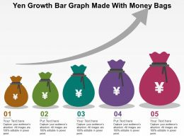 Yen Growth Bar Graph Made With Money Bags Flat Powerpoint Design
