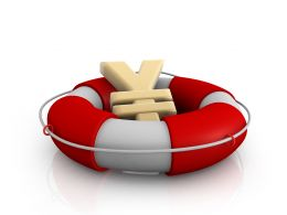 Yen Symbol In Lifesaver Showing Concept Of Financial Crisis Stock Photo