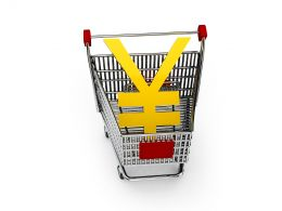Yen Symbol In Shopping Cart For Marketing And Sales Stock Photo