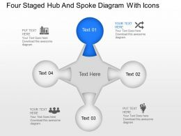 Yg Four Staged Hub And Spoke Diagram With Icons Powerpoint Template