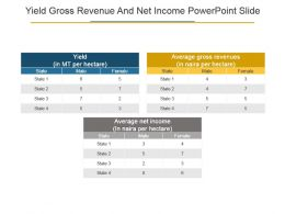 Yield Gross Revenue And Net Income Powerpoint Slide