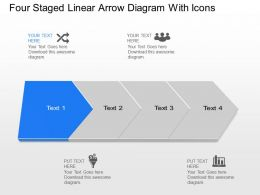Yj Four Staged Linear Arrow Diagram With Icons Powerpoint Template