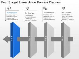Yk Four Staged Linear Arrow Process Diagram Powerpoint Template