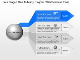 Yl Four Staged One To Many Diagram With Business Icons Powerpoint Template