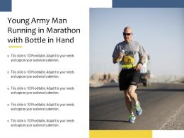 Young Army Man Running In Marathon With Bottle In Hand