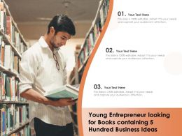 Young Entrepreneur Looking For Books Containing 5 Hundred Business Ideas
