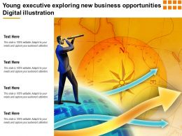 Young Executive Exploring New Business Opportunities Digital Illustration