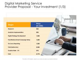 Your Investment Analytics Digital Marketing Service Provider Proposal Ppt Powerpoint Example Topics