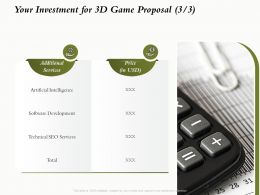 Your Investment For 3D Game Proposal L1638 Ppt Powerpoint Presentation Infographic