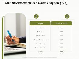 Your Investment For 3D Game Proposal L1639 Ppt Powerpoint Presentation Ideas Files