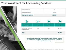 Your Investment For Accounting Services Ppt Powerpoint Presentation Layouts Sample