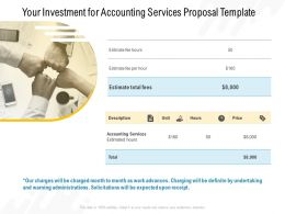 Your Investment For Accounting Services Proposal Template Ppt Powerpoint Slides Vector