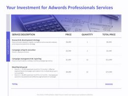 Your Investment For AdWords Professionals Services Ppt Example File