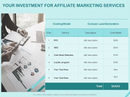 Your Investment For Affiliate Marketing Services Ppt Powerpoint Presentation Styles