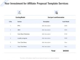 Your Investment For Affiliate Proposal Template Services Ppt Powerpoint Icon