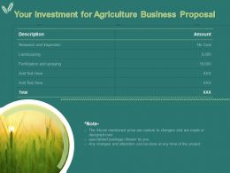 Your Investment For Agriculture Business Proposal Ppt Powerpoint Presentation Gallery