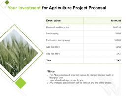 Your Investment For Agriculture Project Proposal Ppt Powerpoint Design Ideas