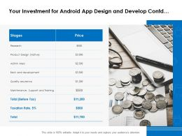Your Investment For Android App Design And Develop Contd Ppt Powerpoint Presentation Gallery