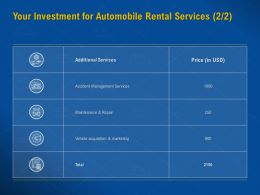 Your Investment For Automobile Rental Services Maintenance Repair Ppt Presentation Sample
